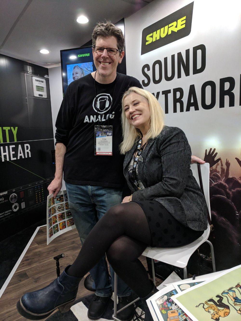Tom Gordon wearing Analog tee - With legendary engineer Sylvia Massy at NAMM 2019