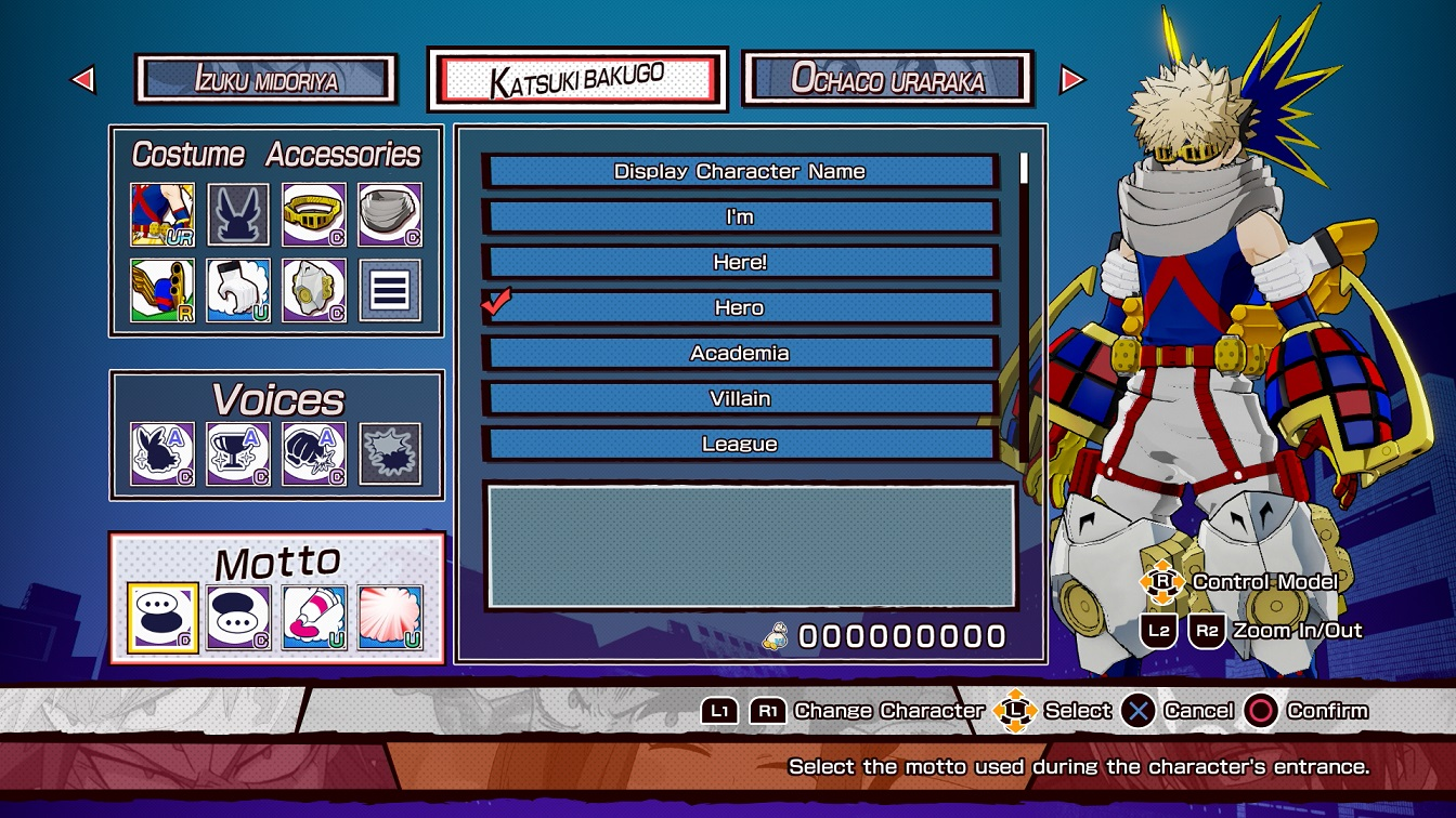 my hero ones justice character customization