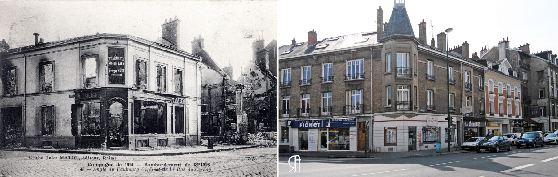 Angle de la rue Jean-Jaurès et de la rue de Cernay