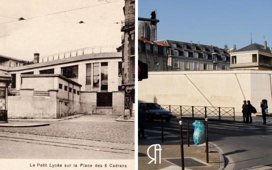 Place des Six cadrans, actuelle place des Loges Coquault, l'arrière du Collège Université