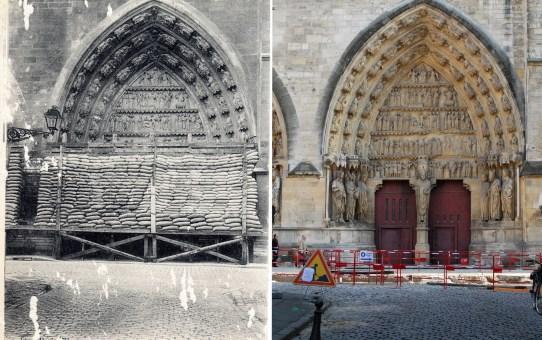 Le portail nord de la cathédrale protégé par des sacs de sable