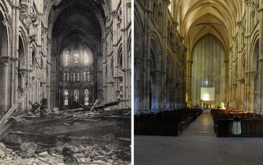 L'intérieur de l'église Saint-André après la Grande Guerre