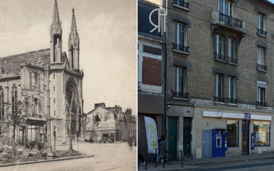 La place et l'église Saint-Thomas en 1919