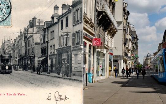 La rue de Vesle et le tramway avant la Grande Guerre