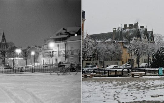 Place du Forum sous la neige