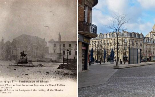 Reims dans ses années de bombardements : Place du Parvis