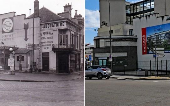 La station Esso et la pharmacie de l'esplanade Cérès dans les années 50