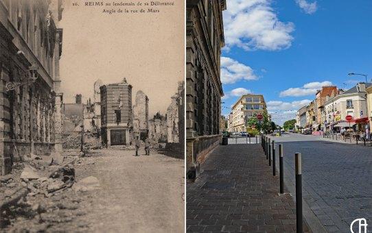Angle de la rue de Mars et de la rue de la Grosse Écritoire (avant/après la guerre, 3 vues)
