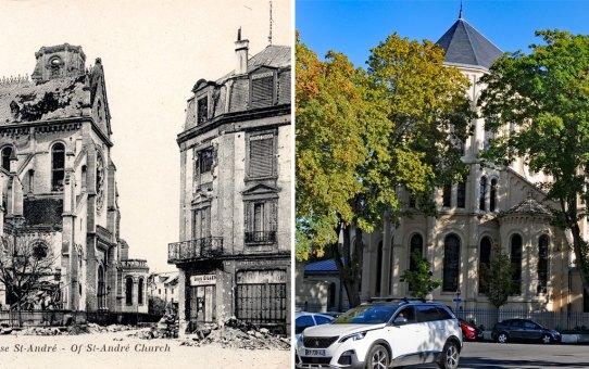 l'abside de l'église Saint-André après la Grande Guerre