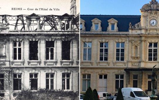 La cour d'honneur de l'hôtel de ville en 1918