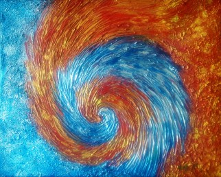 Acrylic on Canvas, Fire and Ice 3, Phoenix Resting, size: 20x16, sold
