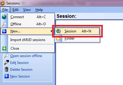 Cómo conectarse con ZMud o CMud - Paso 1