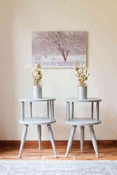 Small Round Two-Tier Side Table Makeover