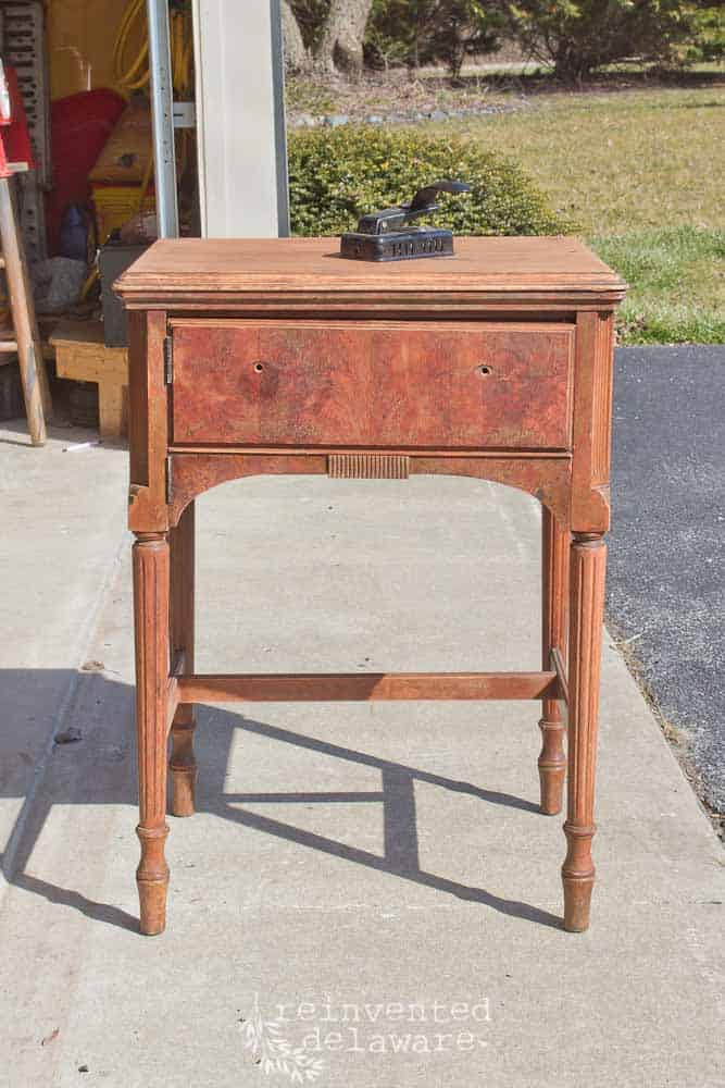 vintage sewing cabinet in original finish with power mechanism