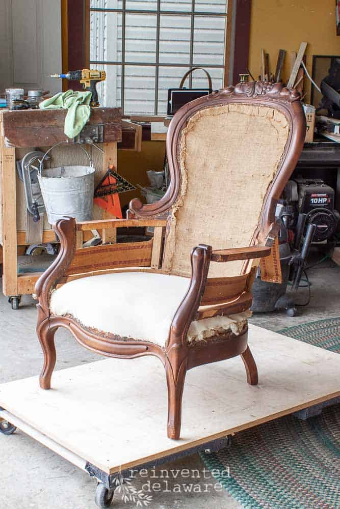 victorian chair with carved detail sanded