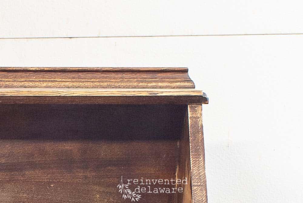 detail of fold down secretary desk