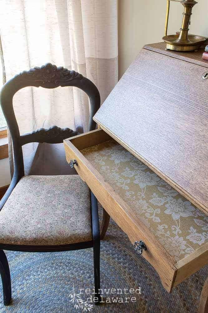 antique oak fold down desk showing lined drawer