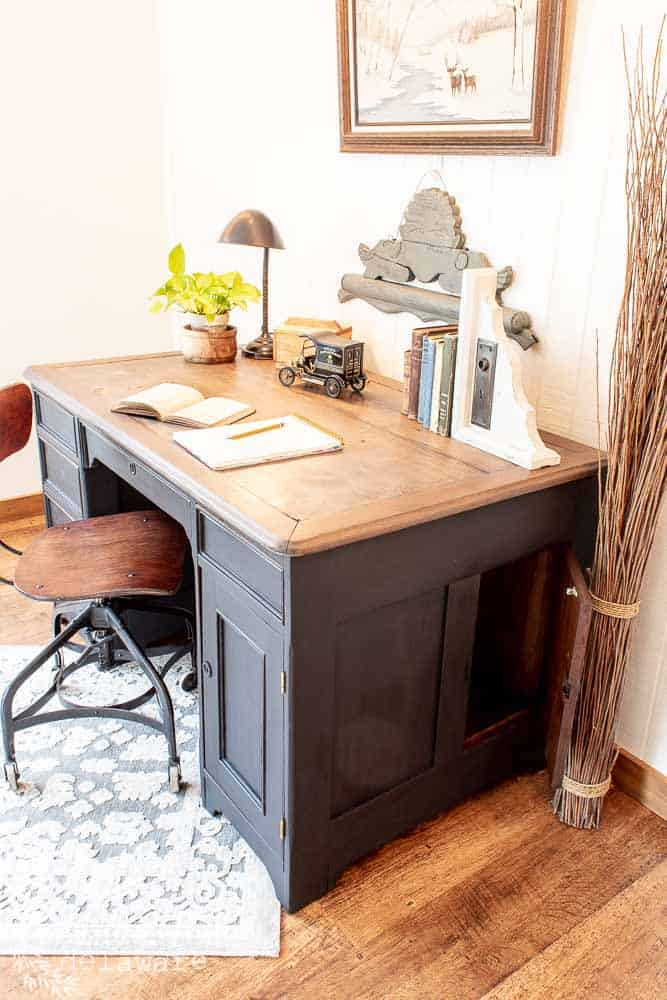 Today, I am sharing an antique desk makeover that wasn't supposed to happen this way!  Wondering what I am talking about??  Read on! #refinishedfurniture #beforeandafters #custompaintedfurniture