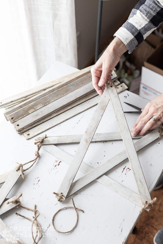 showing how the farmhouse style star is still moveable before securing