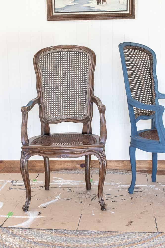 two caned chairs, one painted in Miss Mustard Seed Milk Paint Artissimo and one not painted and natural brown