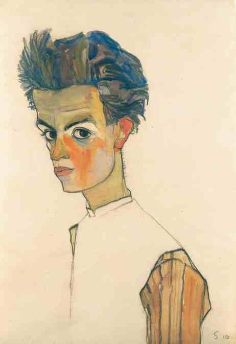 Egon Schiele, Selbstbildnis in gestreiftem Hemd, 1910