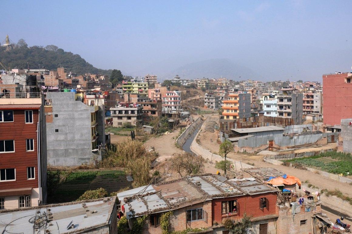 Huizen in Kathmandu in Nepal.