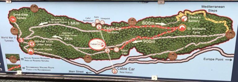 Wege und Strecken am Upper Rock