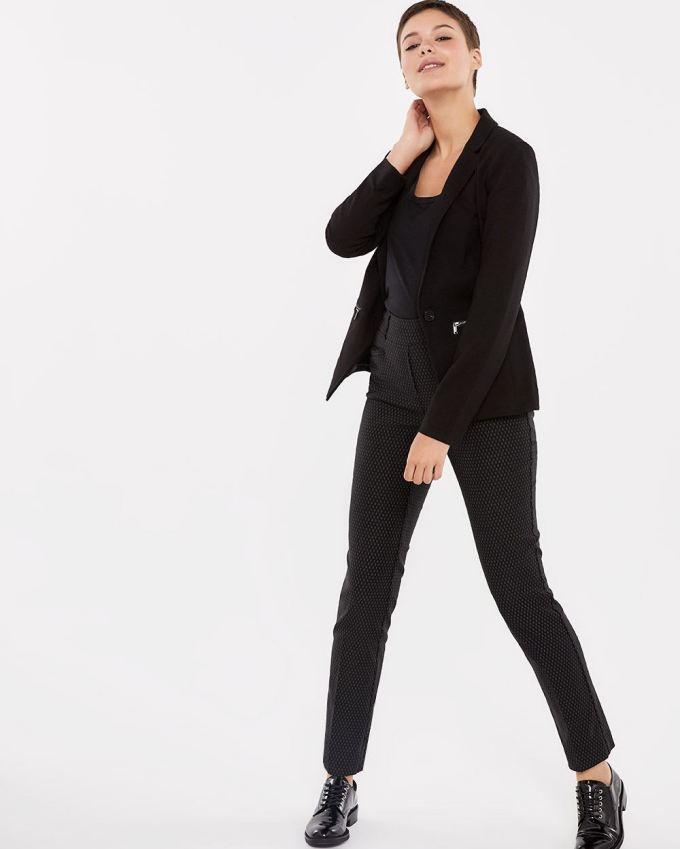 Solid Blazer with Zipped Pockets