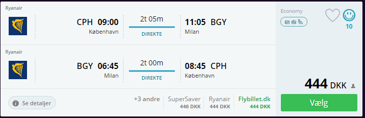 Flyv til Milano i august 2016