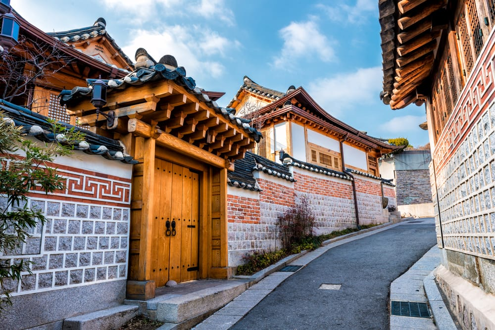 Bukchon Hanok i Seoul i Sydkorea