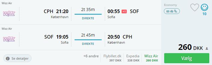 Fly til Sofia (Bulgarien) i november