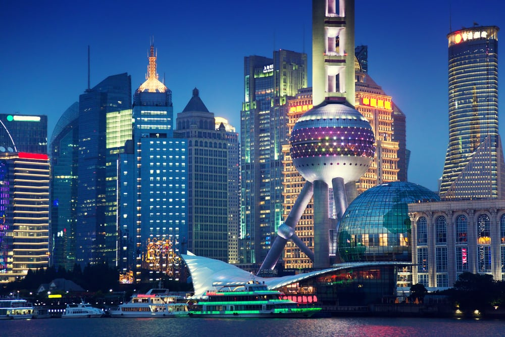Aften i Shanghai i Kina