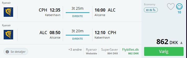 Fly fra KBH til Alicante i Spanien