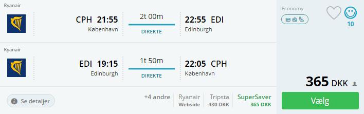 Billige flybilletter til Edinburgh i Skotland