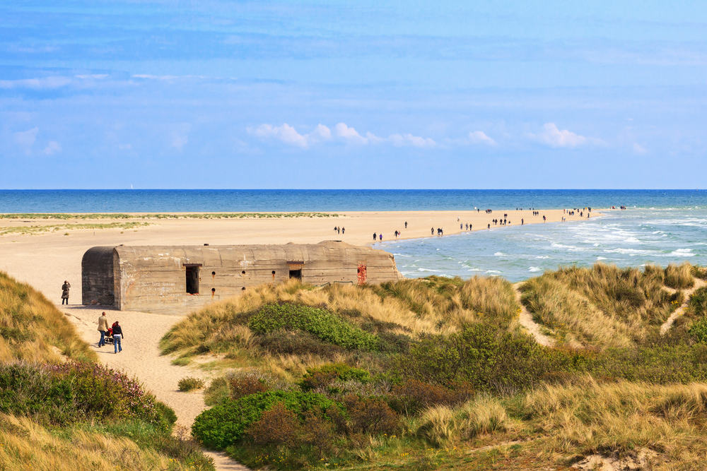 Bunker på stranden i Skagen i Nordjylland