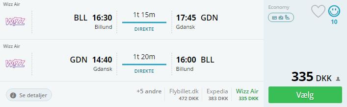Flybilletter fra Billund til Gdansk i Polen