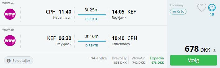 Billige flybilletter til Reykjavik fra København