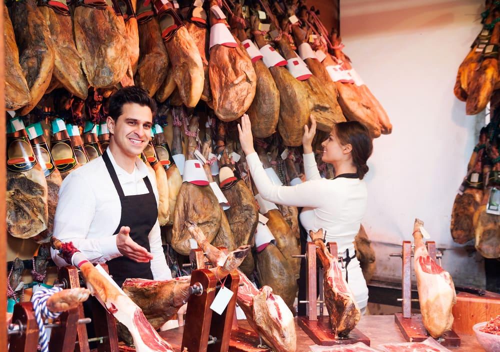 Slagterforretning i Madrid i Spanien