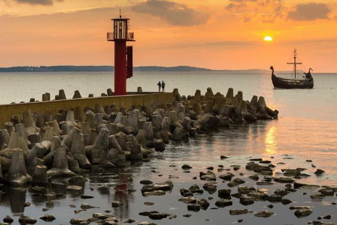 Solnedgang - Swinoujscie i Polen