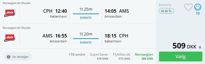 Flybilletter til Amsterdam
