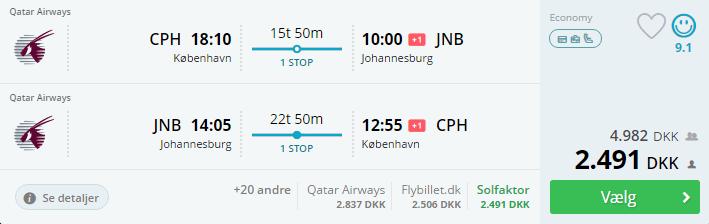 Billige flybilletter til Johannesburg i Sydafrika