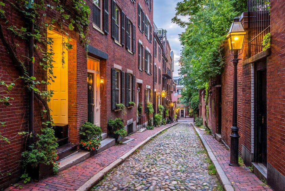 Acorn Street - Boston i Massachusetts - USA