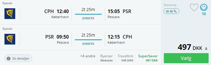 Flybilletter til Pescara i Ialien