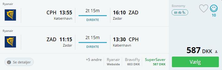 Flybilletter til Zadar i Kroatien