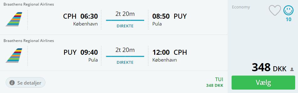 Billige flybilletter til Pula i Kroatien