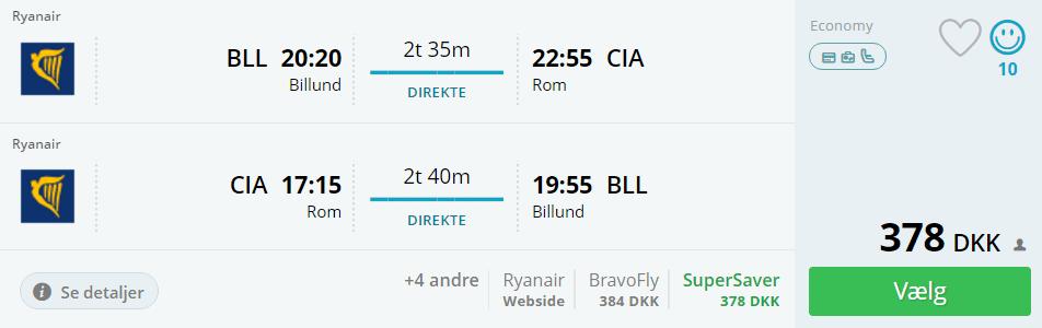 Billige flybilletter fra Billund til Rom