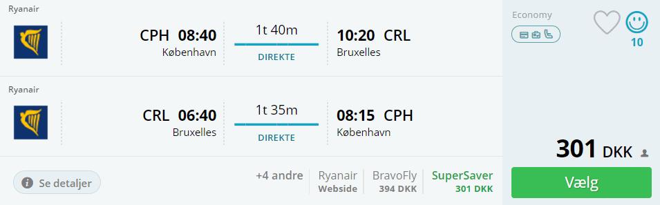 Flybilletter fra København til Bruxelles