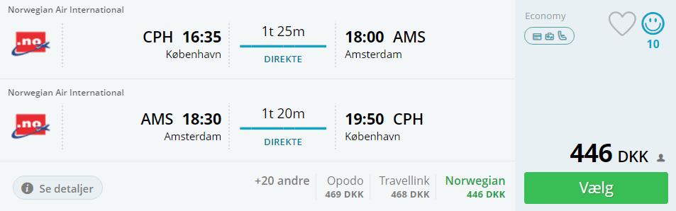 Fly til Amsterdam fra København