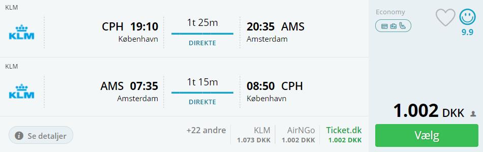 Flybilletter til Amsterdam i efterårsferien