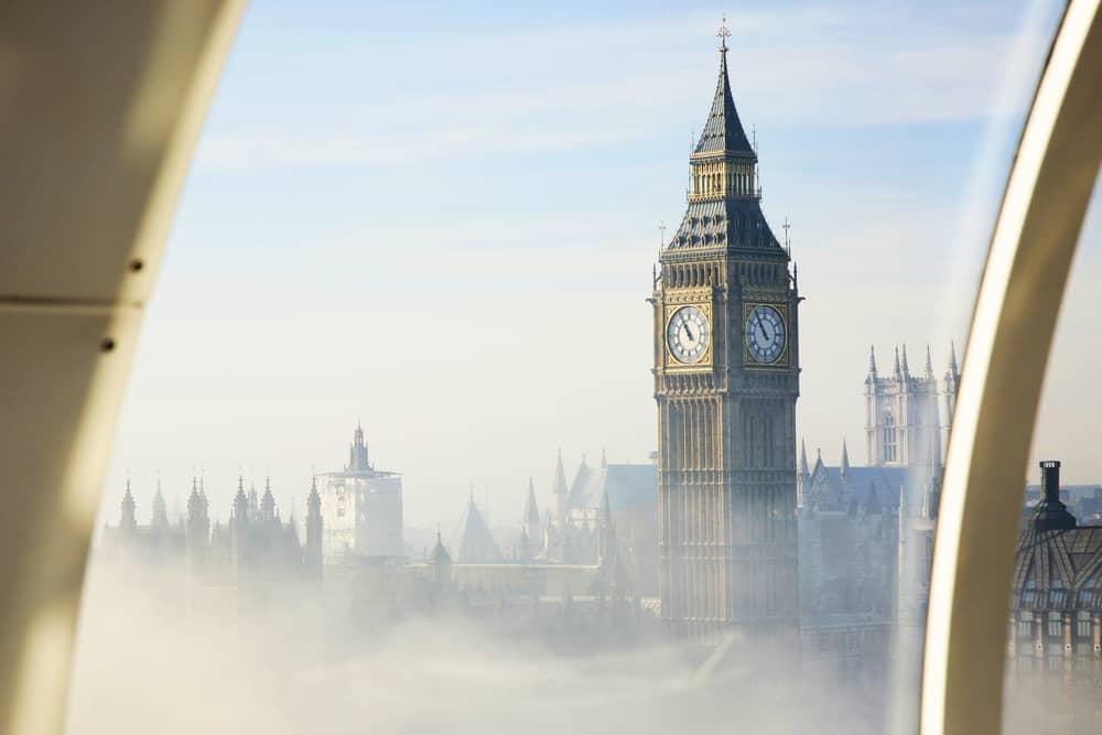 Udsigten fra London Eye på en tåget dag